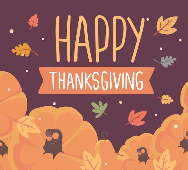Zucche e testo felice ringraziamento con foglie d'autunno sul buio