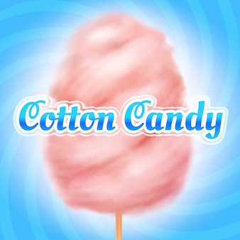 Zucchero filato . candyfloss, zucchero dolce da dessert per bambini. locandina vacanze estive
