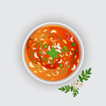 Zuppa di pomodoro su sfondo bianco.