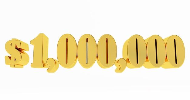 1.000.000 $ een miljoen dollar. gouden 1000000 $ geïsoleerd op een witte achtergrond,