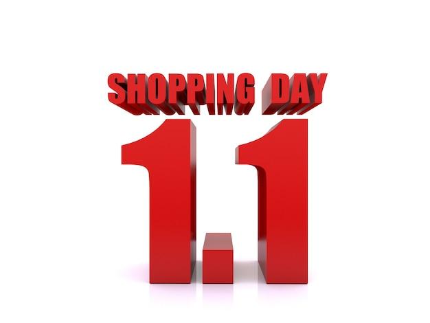 1.1 shopping-dagverkoop op witte achtergrond. 1 januari verkoop poster sjabloon. 3d-rendering