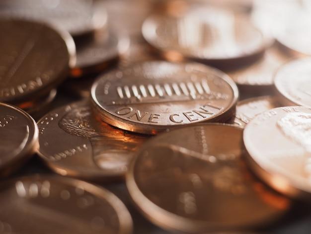1 cent munt, verenigde staten, selectieve focus