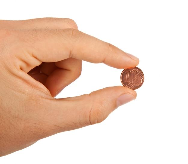 1 eurocent tussen de vingers