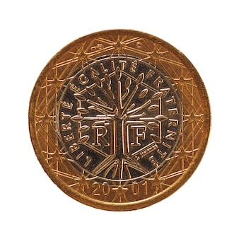1 euromunt, europese unie, frankrijk geïsoleerd over white