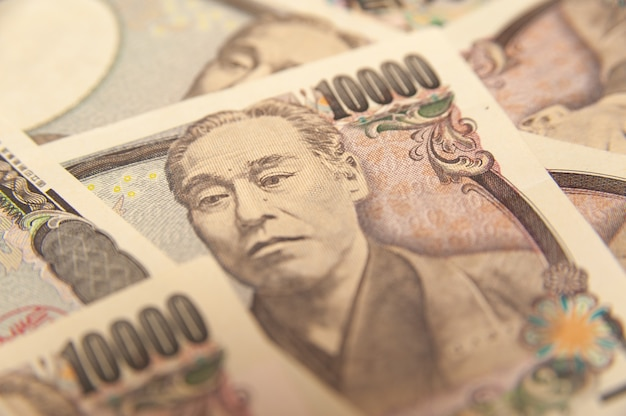 10.000 yen let op japans geld in close-up
