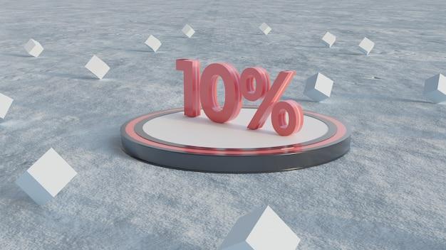 10% korting op 3d-rendering nummers