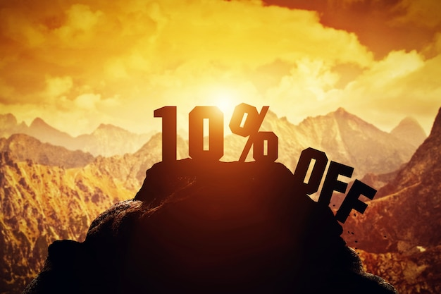10% korting op het schrijven op een bergtop.