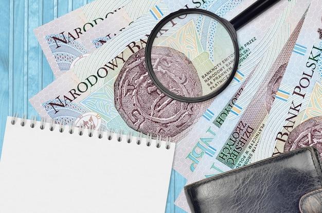 10 poolse zloty-biljetten en vergrootglas met zwarte tas en notitieblok