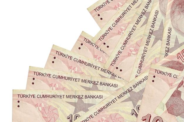 10 turkse lira-rekeningen liggen in verschillende geïsoleerde volgorde. lokaal bankieren o