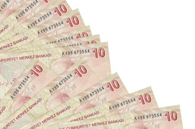 10 turkse lira's rekeningen liggen geïsoleerde achtergrond met kopie ruimte stac