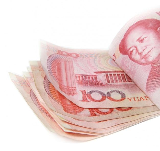 100 woorden, stapel van 100 yuanrekeningen