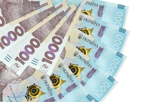 1000 oekraïense hryvnia's rekeningen liggen geïsoleerd op wit
