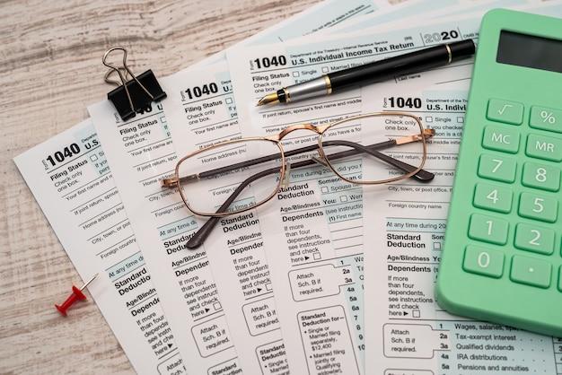 1040 individueel belastingformulier van dichtbij