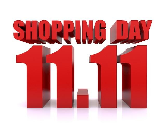 11.11 winkelen dagverkoop op witte achtergrond. 11 november verkoop poster sjabloon. 3d-rendering