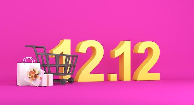 12. 12 winkeldagdecoratie met boodschappentas, winkelwagentje, geschenkdoos