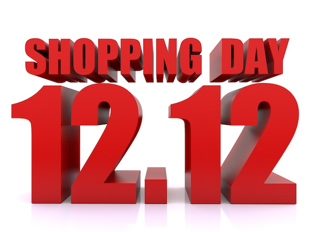 12.12 winkelen dag verkoop op wihte achtergrond. 12 december verkoop poster sjabloon. 3d-rendering