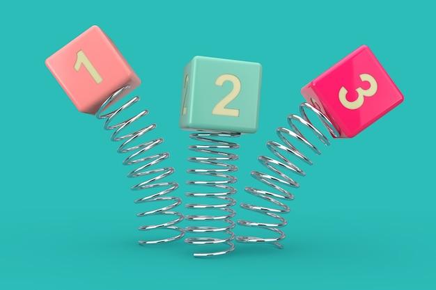 123 kubussen springen met de lente op een blauwe achtergrond. 3d-rendering