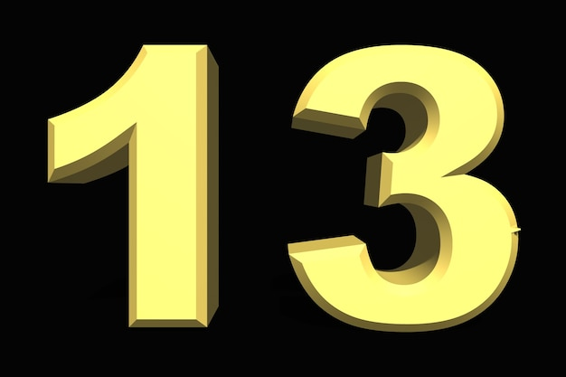 13 dertien nummer 3d blauw op een donkere achtergrond