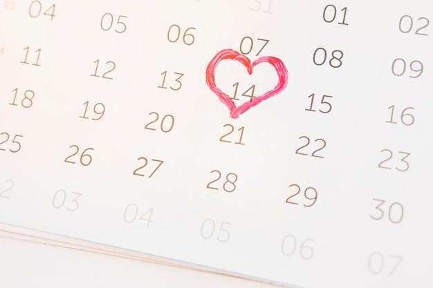 14 februari gemarkeerd op kalender