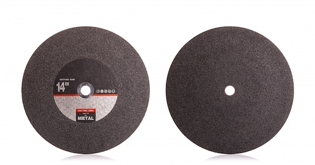 14 inch nieuwe zwarte doorslijpschijf voor metaal op wit wordt geïsoleerd