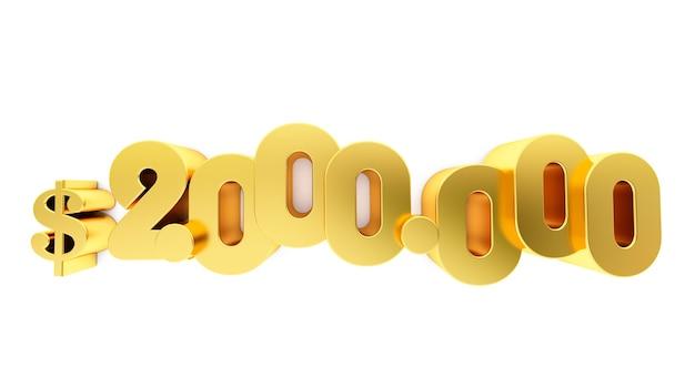2.000.000 $ twee miljoen dollar. gouden 2000000 $ geïsoleerd op een witte achtergrond,