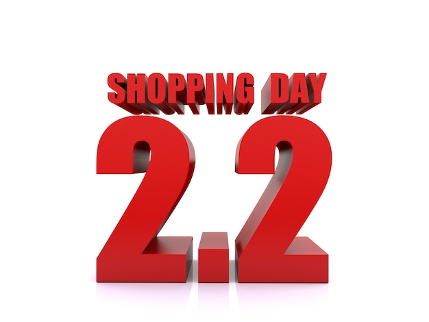 2.2 shopping-dagverkoop op witte achtergrond. 2 februari verkoop poster sjabloon. 3d-rendering