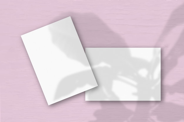 2 vellen wit structuurpapier tegen een roze muur. mockup met een overlay van plantschaduwen. natuurlijk licht werpt schaduwen van de boom van geluk. plat lag, bovenaanzicht. horizontale oriëntatie.