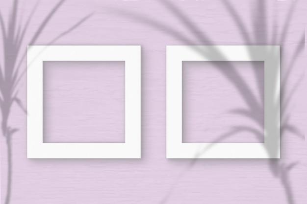 2 vierkante frame vel wit geweven papier op roze muur achtergrond. mockup-overlay met de plantschaduwen. natuurlijk licht werpt schaduwen van een tropische plant. plat lag, bovenaanzicht. horizontaal