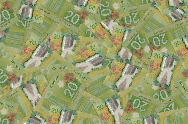 20 canadese dollarbiljetten liggen op een grote stapel