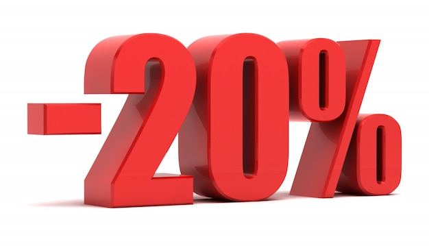 20 procent korting 3d tekst