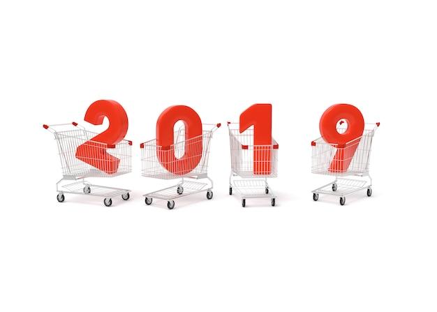 2019 nieuw jaar met winkelwagen