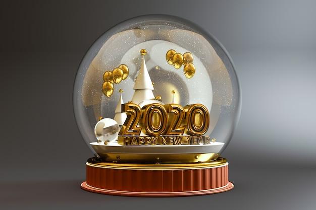 2020 en gelukkig nieuwjaar typografie in een koepel