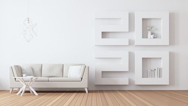 2020 gelukkig nieuw jaar woonkamer interieur / 3d rendering interieur