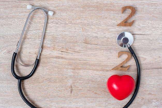 2020 gelukkig nieuwjaar voor gezondheidszorg, wellness en medisch concept.