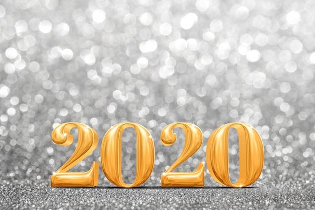 2020 gouden nieuwe jaren bij abstracte fonkelende heldere zilveren glitter