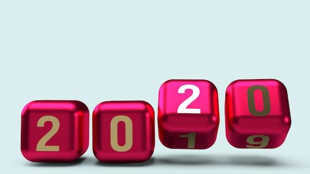2020 gouden nummer op kubussen