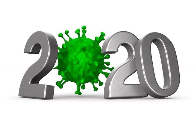 2020 jaar en virus op wit.