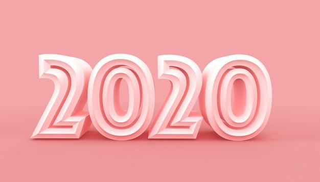2020 jaar op roze