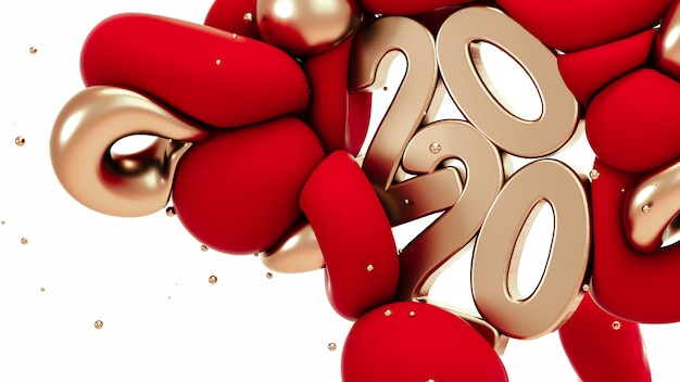 2020 nieuwjaar. rode en metalen gouden abstracte vormen