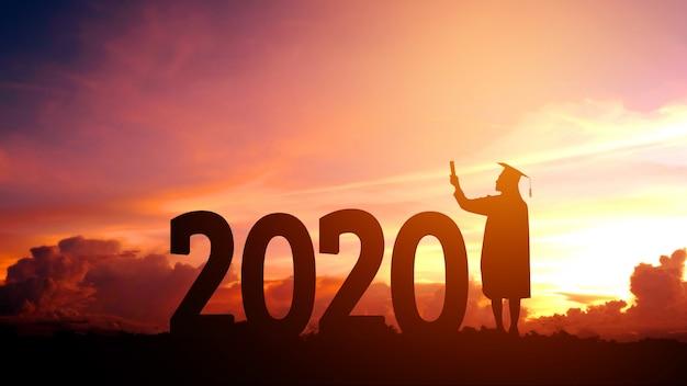 2020 nieuwjaar silhouet mensen afstuderen in 2020 jaar onderwijs felicitatie