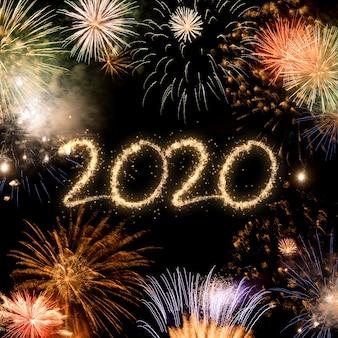 2020 nieuwjaar vuurwerkachtergrond