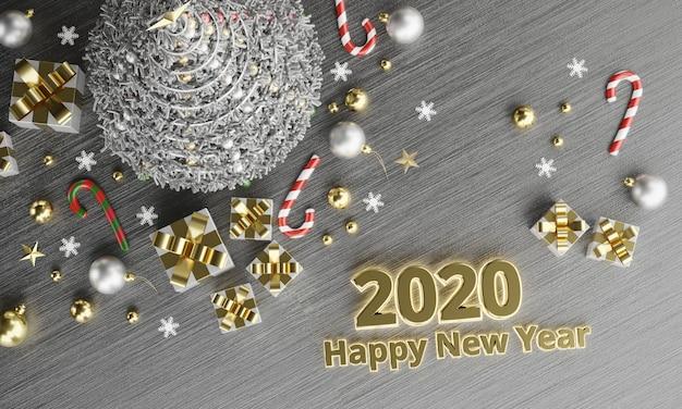 2020-teksten gelukkig nieuwjaar achtergrond in kerstmis bovenaanzicht, 3d-rendering.