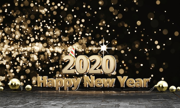 2020 teksten gouden gelukkige nieuwe jaren met lichte bokehachtergrond, het 3d teruggeven.