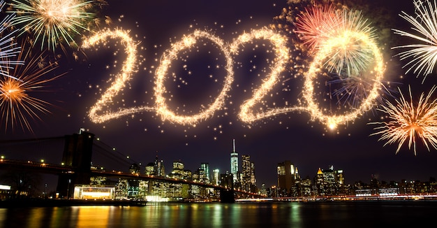 2020 vuurwerk boven new york