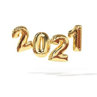 2021 gelukkig nieuwjaar. 3d render teken van bollon gouden kleur.