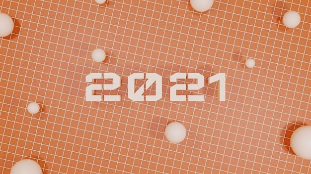 2021 gelukkig nieuwjaar 3d-rendering illustratie