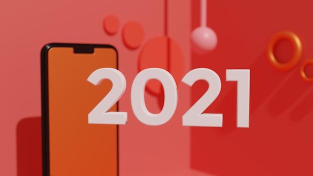 2021 gelukkig nieuwjaar achtergrond 3d-behang