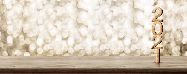 2021 gelukkig nieuwjaar houten nummer (3d-rendering) op houten tafel met sprankelende gouden bokeh muur