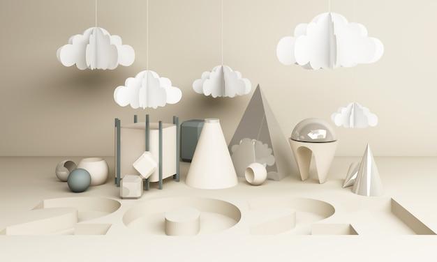 2021 geometrische vorm in witte toon 3d-rendering