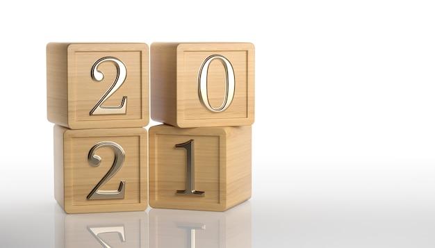 2021 gouden tekst op houten kubussen op witte achtergrond. nieuwjaarsdatum. 3d-rendering